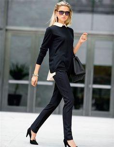 Pullover mit Blusenimitation, Spitze Veloursleder-Pumps mit hohem Absatz, Große Damen Business-Tasche aus echtem Leder mit Bodenfüßen