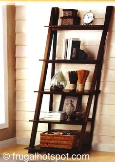 *UPDATE* Five fixed shelves provide open storage space in this unique bookcase. Costco has the Bayside Furnishings Ladder Bookcase in stock for a limited time. Bayside Furniture, Bayside Furnishings, Home Furnishings, Outdoor Furniture, Indoor Outdoor Living, Ladder Bookcase, Costco, Frugal, Storage Spaces
