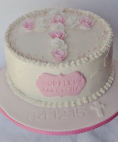 Baptism Cake by Be Sweet by Maria Rose Cake, Cakes And More, Christening, Roses, Pasta, Sweets, Luxury, Desserts, Food