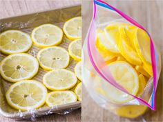 What to do with Lemons? Brilliant ideas for how to make the most out of lemons. From fresh lemon juice to freezing juice, lemon slices and even lemon zest. Freezing Lemons, Freezing Fruit, Lemon Dessert Recipes, Lemon Recipes, Breakfast Recipes, Snack Recipes, Lemon Ice Cubes, Lemon Health Benefits, Dips