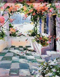 Marilyn Simandle, American Artist, Represented this Artist. Watercolor Pictures, Watercolor Flowers, Watercolor Paintings, Watercolours, Art Beauté, Watercolor Architecture, American Artists, Belle Photo, Love Art
