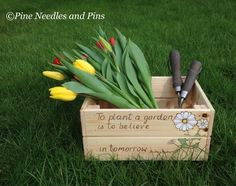 Pine gardening box, gardening crate, Mothers Day gift, pyrography art, vegetable box, gardeners gift by PineNeedlesandPins on Etsy