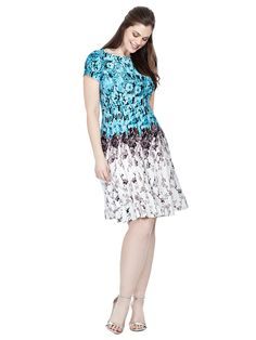 Flared Dress In Shadow Floral by  Julian Taylor  Available in sizes 10/12 and 14W-24W