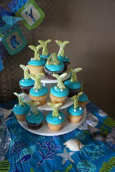 Cupcakes at a Mermaid Party #mermaid #partycupcakes
