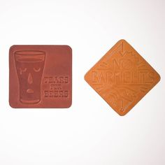You're going to want to use these embossed leather beer-coasters