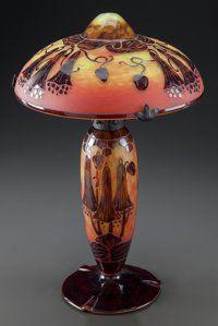 , CHARLES SCHNEIDER LE VERRE FRANCAIS GLASS CAMPANULES TABLELAMP. Circa 1920, Engraved: Le Verre Francais. 20...