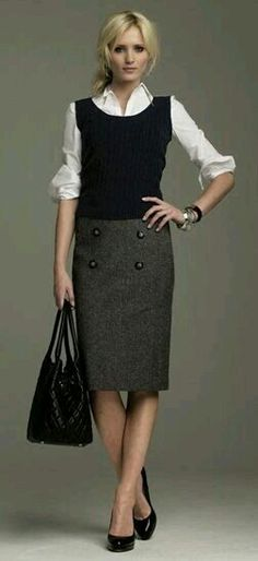 All of the outfit minus heels prefer tall low heel boots or loafers