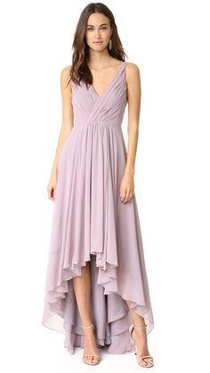 Monique Lhuillier Bridesmaids High Low Chiffon Gown