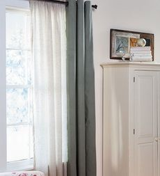 thermalogic-thermasheer-insulating-rod-pocket-semi-sheer-window-curtain-panels 91333 plow and hearth linen 63""