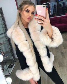 "Platinum Saga Furs Navy Blue Fox Fur 63/"" Shoulder Wrap Stole Scarf Cuffs"