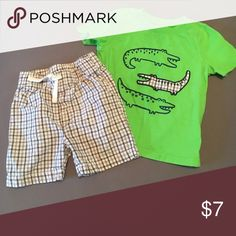 Shirt and shorts set T shirt with alligators. And plaid shorts to match with drawstring. Only worn a couple times. jumping beans  Matching Sets