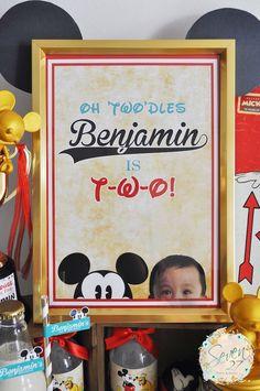 Framed signage from a Vintage Mickey Mouse Themed Birthday Party via Kara's Party Ideas | KarasPartyIdeas.com (28)