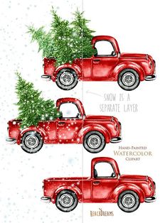 Watercolor Christmas Truck Vintage Red Pickup Pine by ReachDreams
