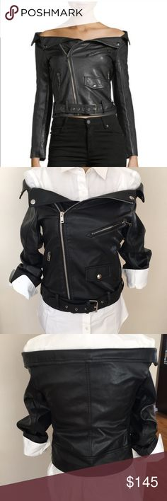 NWT Vegan Leather Off Shoulder Blk Moto Jacket NWT Vegan Leather Off Shoulder Blk Moto Jacket. Purchased from Neiman Marcus Last Call. Jacket is beautiful and in perfect condition. Haute Rogue Jackets & Coats
