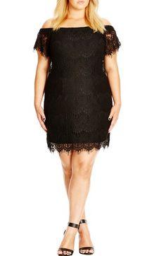 City Chic Off the Shoulder Lace Dress (Plus Size)