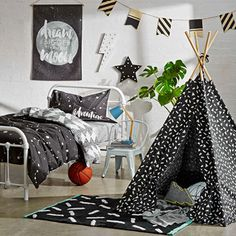 Big kids monochrome bedroom makeover. Kmart Australia Style
