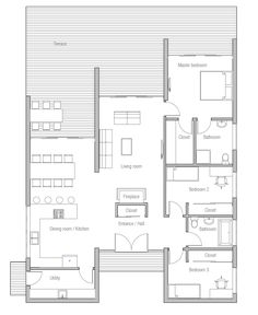 Minimal House Plans contemporary home design to wide lot. three bedrooms. open