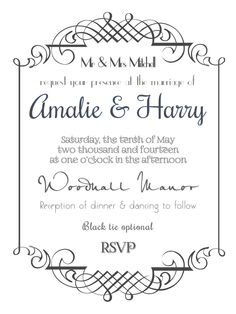 Formal wedding rsvp in slate for more information different styles formal wedding invitation in white for more information different styles and colour options please see stopboris Image collections