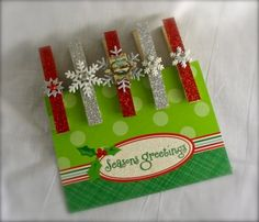Christmas Gift Tag Holder Magnets and Clothespins Set
