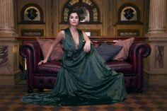 Green velour dress !!
