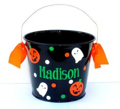 Personalized Pumpkin and Ghost Halloween Trick by RayneEDayCrafts