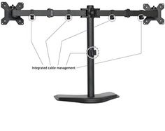 Dual LCD Monitor Screen Free Standing Desk Table Mount Stand Adjustable Swivel #VIVO