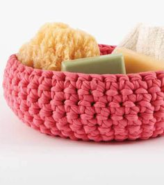 Large Crochet Bowl from @joannstores | Chunky T-Shirt Yarn Projects | Fettucini Yarn