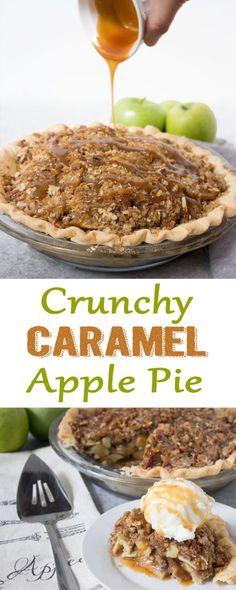 #applepie crunchy caramel apple pie, apple pie recipe, caramel apple pie. caramel apple. dessert. pie, pie recipe, apple pie recipe, fall dessert