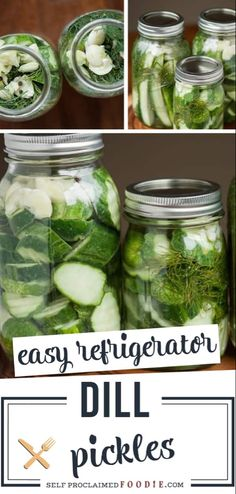 Easy Refrigerator Dill Pickles take only a few minutes to make. Once you make your own homemade dill pickles, you'll never buy store bought again. Garlic Dill Pickles, Spicy Pickles, Pickled Garlic, Pickles Recipe, Canning Pickles, Pickled Onions, Homemade Refrigerator Pickles, Homemade Pickles, Refridgerator Pickles Dill