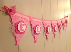Butterfly Baby Shower banner, Birthday Banner, Girl Name Pennants are made from sturdy cardstock and 5 inches tall. Letters are 1-2 inches tall, depending on font style. Banner length varies depending on the number of pennants. Banners arrive fully assembled and ready to hang. Affix easily to the wall with tape, pins, or double-sided adhesive foam.