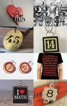 Number pendants from vintage game pieces