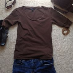 Chocolate Brown Top Short Sleeve round neck Top. Form fitting and very comfortable! Tops