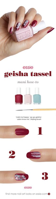 go geisha with our fall shades and this fun 'geisha tassel' nail art  step 1: After a thin layer of essie base coat, apply two coats of 'maki me happy'. step 2: Using a striping brush, apply thin stripes of 'go go geisha' and 'udon know me' vertically down the nail. step 3: Use the striping brush to create 1-2 small triangle tassels hanging on each of the lines. step 4: Seal with essie top coat.