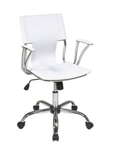 Office Star Ave Six DOR26 WH Dorado Office Chair With Fixed Padded Arms And  Chrome