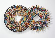 """David Gerstein """"Endless Walk"""" (2010), hand painted steel cutout, 3 layers, 95 x 160 cm, photo courtesy of the Bruno Art Group and the India Art Fair"""