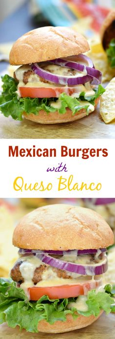 Your mouth is in for a treat with these juicy and delicious Mexican Burgers with Queso Blanco sauce and all of your favorite toppings! Healthy Bread Recipes, Mexican Food Recipes, Dinner Recipes, Hamburger Recipes, Beef Recipes, Cooking Recipes, Family Recipes, Cooking Tips, Burger And Fries