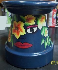 clay pot candle holder I painted