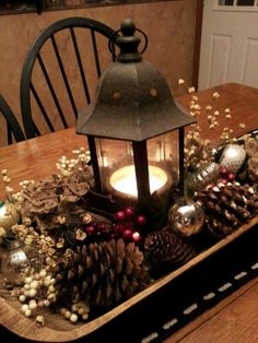 This would be cute with pine cones and mini pumpkins for Halloween! White Christmas, Christmas Home, Xmas, Christmas Decorations, Christmas Ornaments, Ireland, Table Lamp, Wreaths, Lighting