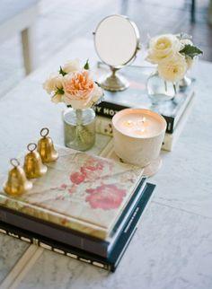 Pretty table vignette for lounge area.