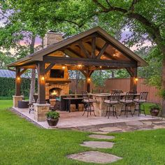 33 Admirable Modern Patio Design Ideas You Never Seen Before - A patio is just one element of a garden design, but it is one of the most expensive parts of any garden build. Because the patio fulfills several diff. Backyard Pavilion, Backyard Gazebo, Backyard Patio Designs, Backyard Landscaping, Backyard Ideas, Gazebo Ideas, Patio Ideas, Garden Ideas, Diy Pergola