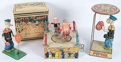Three 1930s Pugilistic Popeye Windup Toys
