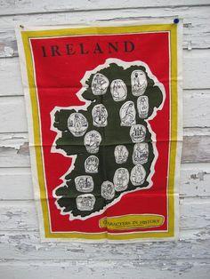 Vintage Tea Towel CHARACTERS In IRELAND by lostnfounddrygoods, $20.00