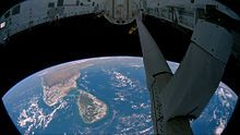 View of Sri Lanka from the Space Shuttle.