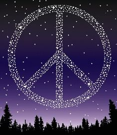 Peace sign made of  stars  in the sky