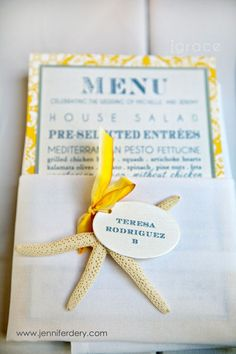 darling yellow and cape cod blue vintage chic beach wedding menu and place card suite by j grace