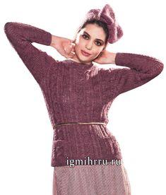 Бордовый шерстяной пуловер с косами и кокетливая повязка на голову. Вязание спицами