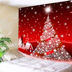 Christmas Tree Star Print Tapestry Wall Hanging Art - RED W59 INCH * L51 INCH