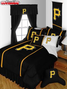 Need the ultimate sports themed room?  Look no further than this Pittsburgh Pirates bedding set.  Comes in 4, 6 and 10-piece sets, you can do anything you want!  Great for your kids' rooms or as a gift.