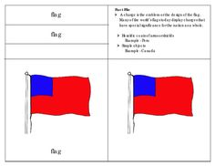 Parts of a Flag: Three Part Cards This unit includes:8 Picture cards for the parts of the flag8x2 Labels for the parts of the flag8 Picture cards with labels8 Definitions  1 Fact fileBlackline master for the children can make their own flag bookletInstructionsPrint on card stock, cut, and separate the cards and labels and laminate.