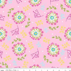 FLORIOGRAPHY  Floral in Pink c3943  Riley Blake by MoonaFabrics, $9.95